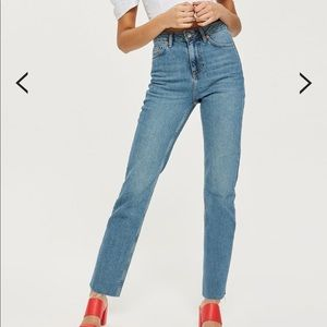 Topshop straight leg jean with raw hem